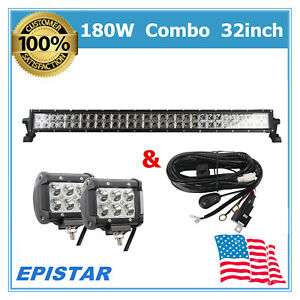 180w 32 Led Light Bar 18w Cube Driving Fog Tacoma Boat Roof Vehicle free Kit