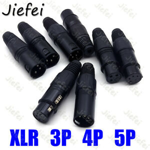 Xlr 5 4 3 Pin Connector Female And Male Mic Jack Plug Audio Microphone Cable