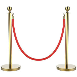 Stanchions And Velvet Ropes Queue Pole Retractable Red Belt Crowd Control Barrie