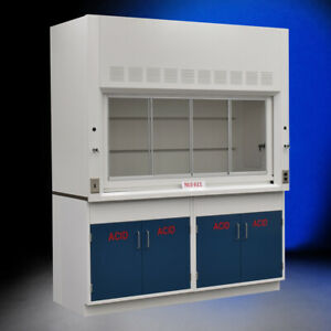 6 Chemical Fume Hood Including W 2 Blue Acid Cabinets Fisher American E2 141