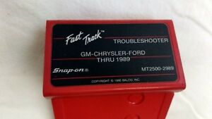 Mt2500 2989 Snap On Diagnostics Fast Track Troubleshooter Gm Chrysler Ford