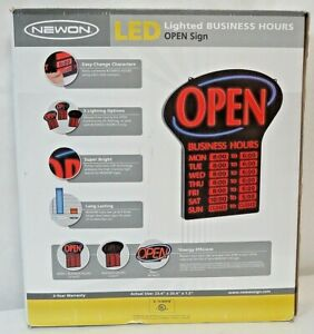 Newon Led Lighted Business Hours Open Sign 3 Lighting Options Static Stick s