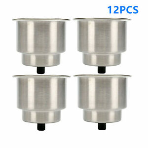 12pcs Of Stainless Steel Cup Drink Holder With Drain For Marine Boat Rv Camper