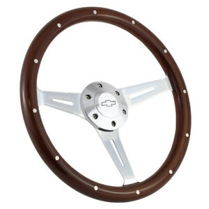 380mm Chrome Dark Steering Wheel Real Wood Riveted Grip 15 6 Hole Chevy
