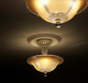 354 Vintage Antique Glass Ceiling Lamp Light Fixture Chandelier 3 Lights 1 Of 2