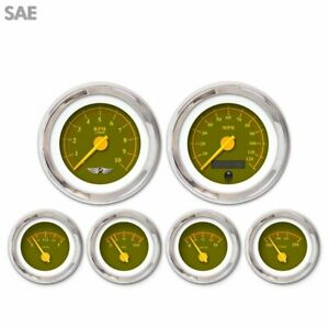 6 Ga Set W Emblem Sae Omega Olive Yellow Modern Needles Chrome Trim Rings