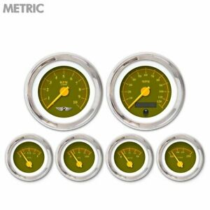 6 Ga Set W Emblem Metric Omega Olive Yellow Mod Needles Chrome Trim Rings