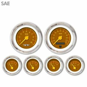 6 Ga Set W Emblem Sae Omega Brown Yellow Modern Needles Chrome Trim Rings
