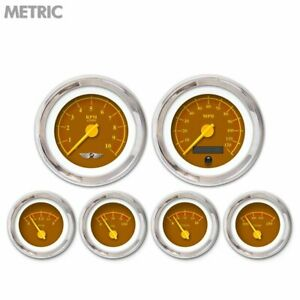 6 Ga Set W Emblem Metric Omega Brown Yellow Mod Needles Chrome Trim Rings