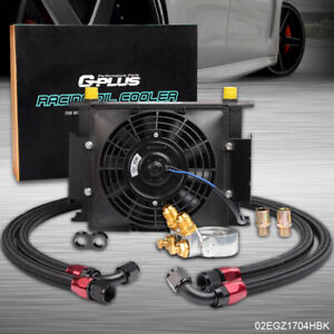 Gplus 30 Row An10 Thermostat Adaptor Engine Racing Oil Cooler Kit 7 Fixed Fan