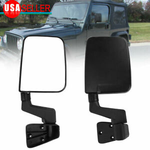 Manual Passenger Driver Side Door Mirrors Pair Set For 1987 2002 Jeep Wrangler