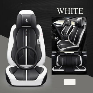 Deluxe 6d Full 5 Seat Pu Leather Car Seat Cover Cushion Pad Surround Breathable
