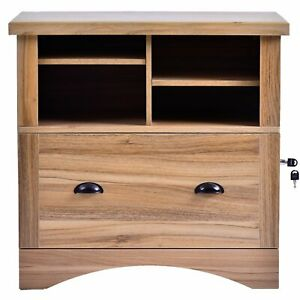 Modern Luxe Lateral File Cabinet With 3 Drawers And Open Storage Shelves New Us