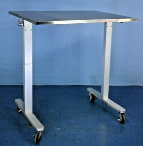 Stainless Adjustable Height Instrument Table Medical Procedure Table W Warranty
