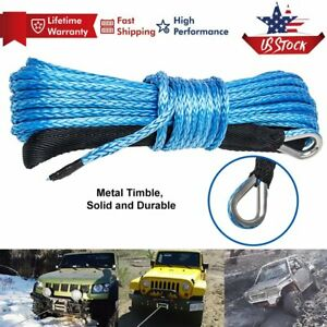 1 4 X 50ft Synthetic Winch Rope Line Cable 8200lb Capacity W Sheath For Atv Utv
