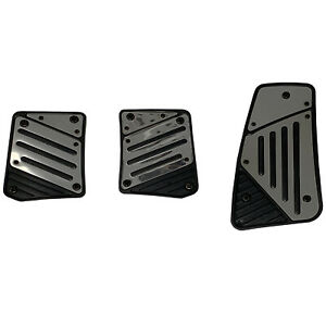 3pc Black And Chrome Mirror Like Universal Manual Pedal Pad Cover Extreme Pack
