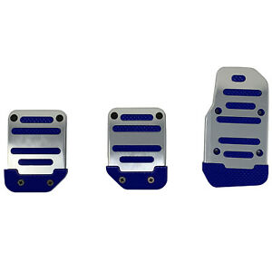 3pc Blue And Chrome Universal Manual Pedal Pad Cover Extreme Pack