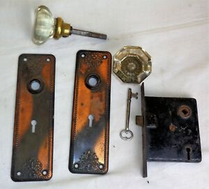 Antique Art Noveau Tiger Copper Japanned Backplates Glass Door Knob Mortise Lock
