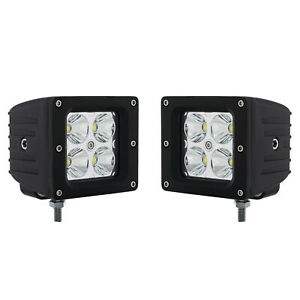3 Led Square Pod Spot Light Atv Boat Truck Grill Bumper Off Road Pair Fits Jeep