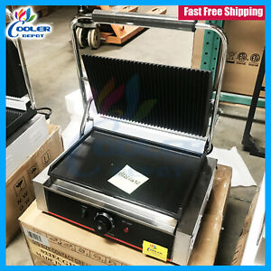 New Panini Sandwich Press Wide Grill Flat Groove Surface Restaurant Cafe 110v