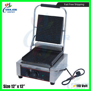 Panini Sandwich Press Grill With Grooved Plates Commercial 110v 12 x12 New
