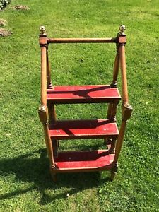 Antique Wooden Library Ladder With Red Painted Steps