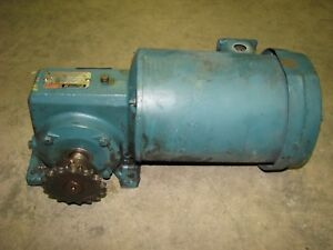 Reliance Electric 1 2 Hp Gear Motor 230 460 Volt 3 phase 30 1 Ratio 58 Rpm