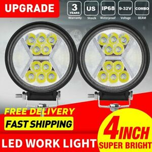 2x 4inch 100w Round Led Work Lights Combo Beam Offroad Fog Driving Light 12v 5