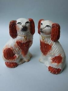 Antique Pair Staffordshire Pottery Small Spaniels Dogs Figurines C 1880 S