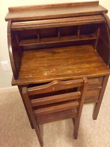 Vintage Childs Roll Top Desk W Chair