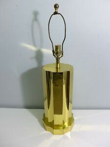 Brass Scalloped Hollywood Regency Cylinder Lamp Shoal Creek Tall Table Lamp Base