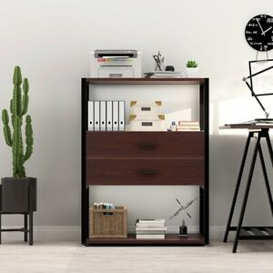 Multifunction 3 tier Open Shelf Vertical Tall File Cabinet With 2 drawer Storage