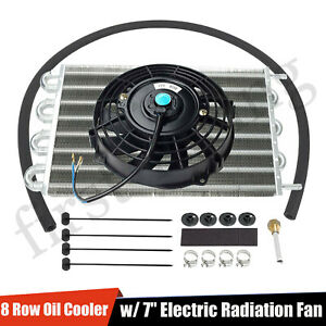 Universal 15 1 2 Radiator Transmission Oil Cooler Aluminum 7 Cooling Fan Kit