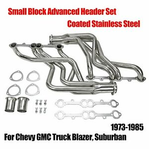 Fit Chevy Gmc Truck Header Set Silver Coated Steel Small Block Advanced