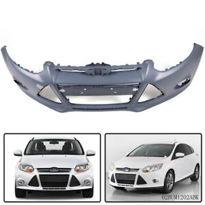 Front Bumper Cover For 2012 2014 Ford Focus W Fog Lamp Holes Primed