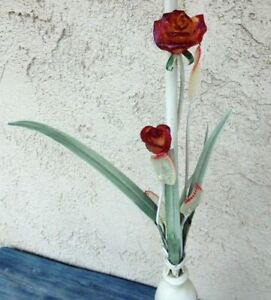 Unique Standing Tall Italian Toleware Metal Single Candle Holder Glass Roses