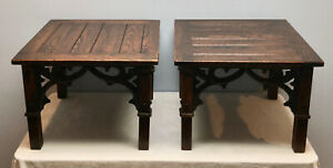 Vintage Pair Dark Oak Hand Carved French Gothic Side Tables Coffee Tables