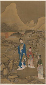 Chinese Old Scroll Painting On Silk Beautiful Woman Admiring Plum Flowers