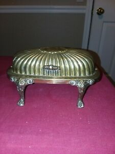 Silver Plated Butter Dish Roll Top Fb Rogers 357 Lion Footed 7 1 2 X 4 3 4