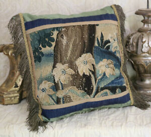 18th Century French Aubusson Verdure Tapestry Pillow Flowers Gold Metallic Trim