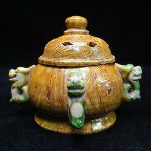 Very Rare Old Chinese Hand Carving Porcelain Incense Burner Cover Censer