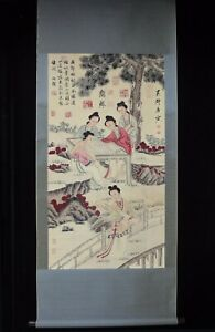 Old Chinese Very Long Scroll Hand Painting Pretty Lady Tangyin Marks