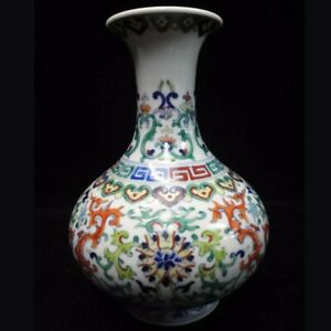 Rare Old Chinese Doucai Hand Painting Flowers Porcelain Vase Qianlong Mark