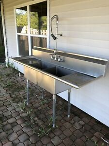 Used Commercial Stainless Steel 2 Compartment Sink Plus Free Faucet