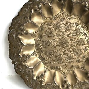 Vtg Middle Eastern Plate Tray 11 Solid Brass Wall Hanging Islamic Arabic