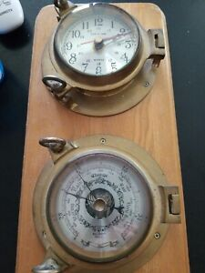 6 Brass Quartz Ships Time Clock And Barometer Mounted On Wood