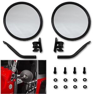 Round Rear Side View Black Glass Mirror W Mount Arm Pr For 97 17 Jeep Wrangler