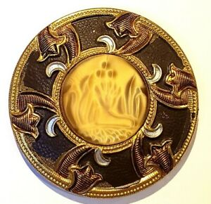 Lrg Rare Antique Button Art Nouveau Dig Design In Glass In Metal W German Marks