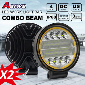 4inch 88w Round Cree Led Work Lights Offroad Suv Truck Atv Drl Driving Fog Lamp