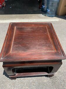 Antique Chinese Carved Hardwood Stand Base Small Table Rosewood